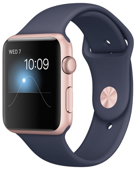 Умные часы apple Watch Series 1 42 mm, розовое золото/синие MNNM2RU/A