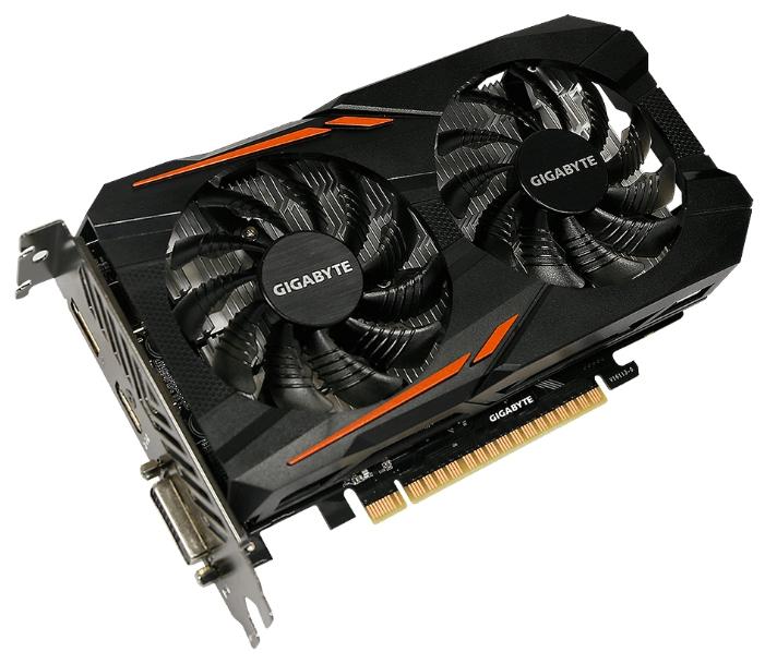 Видеокарта GeForce GigaByte GTX 1050 Ti 1316Mhz PCI-E 3.0 4096Mb 7008Mhz 128 bit DVI HDMI HDCP OC GV-N105TOC-4GD