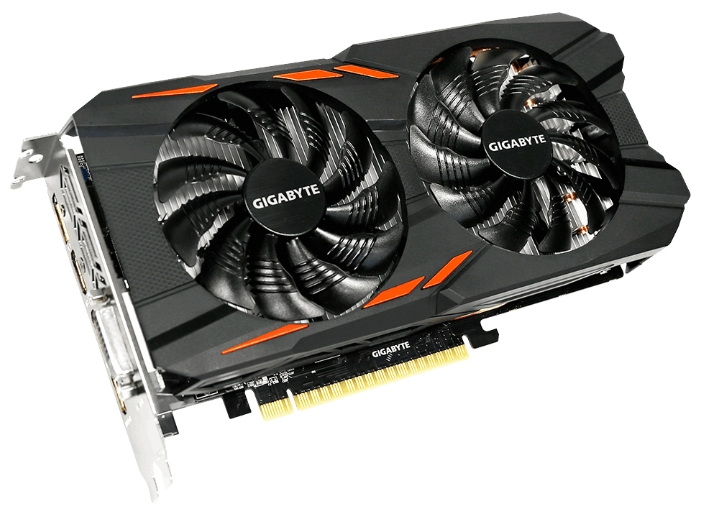 Видеокарта GeForce GigaByte GTX 1050 Ti 1328Mhz PCI-E 3.0 4096Mb 7008Mhz 128 bit DVI 3xHDMI HDCP Windforce OC GV-N105TWF2OC-4GD