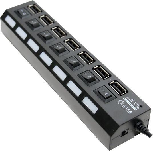 USB концентратор 5bites HB27-203PBK, блок питания, черный