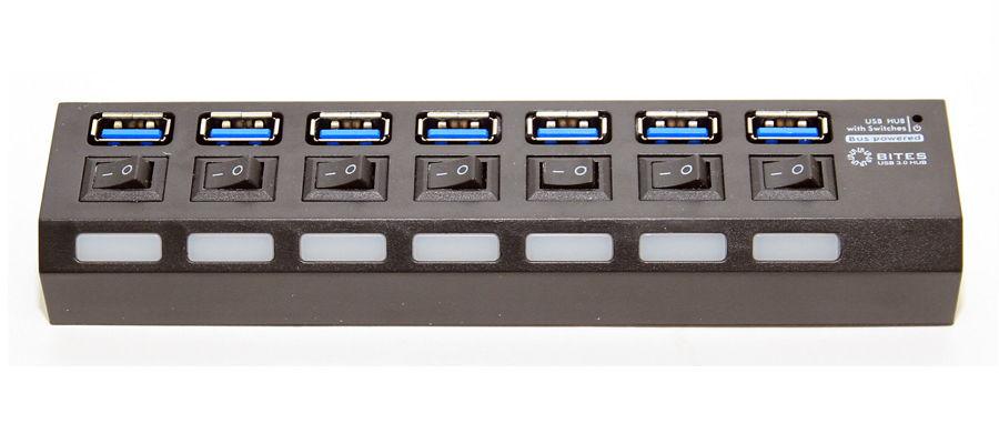 USB концентратор 5bites HB37-303PBK, блок питания 2А, черный