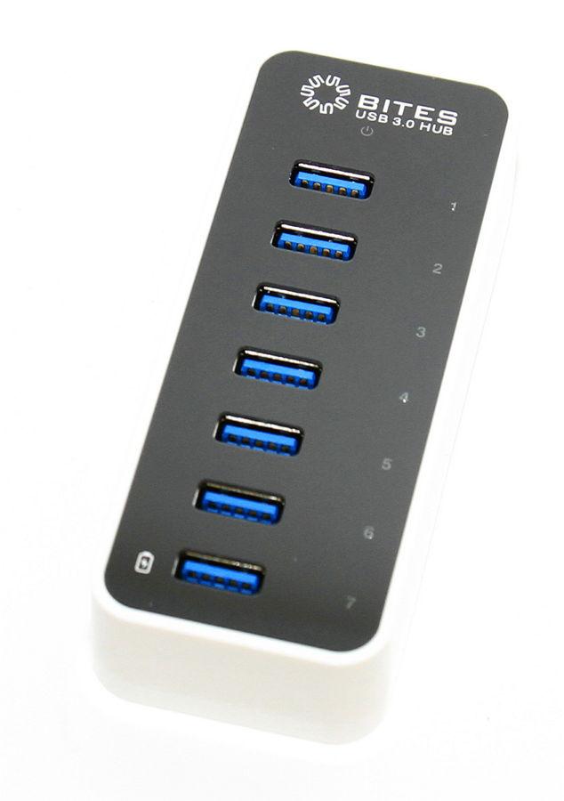 USB концентратор 5bites HB37-305PWH, блок питания 3А, черно-белый