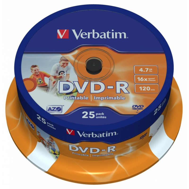 Оптический диск Verbatim DVD+R 4.7 Gb, 16x, Cake Box (25шт) 43500