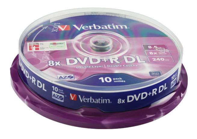 Оптический диск Verbatim DVD+R 8.5 Gb, 8x, Cake Box, Double Layer (10шт) 43666