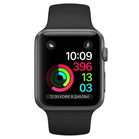 Умные часы apple Watch Series 2 38mm, графит/черные MP0D2RU/A