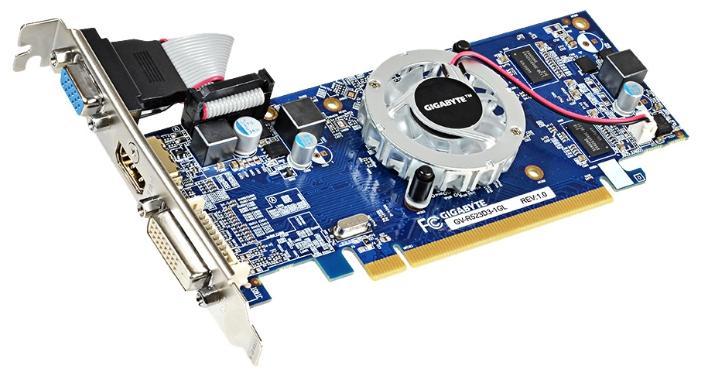 ���������� Radeon GigaByte Radeon R5 230 625Mhz PCI-E 2.1 1024Mb 1066Mhz 64 bit DVI HDMI HDCP GV-R523D3-1GL