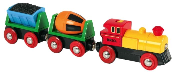 Набор игровой BRIO Грузовой поезд с бетономешалкой и грузом угля