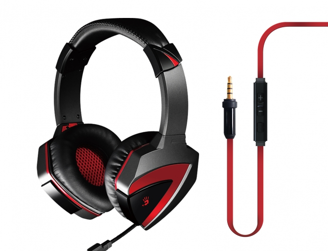 A4Tech A4-Tech Bloody G500, чёрно-красная (проводная, 2.0ch, 20-2000 Гц, микрофон 50-16000 Гц, провод 2.2м, miniJack)