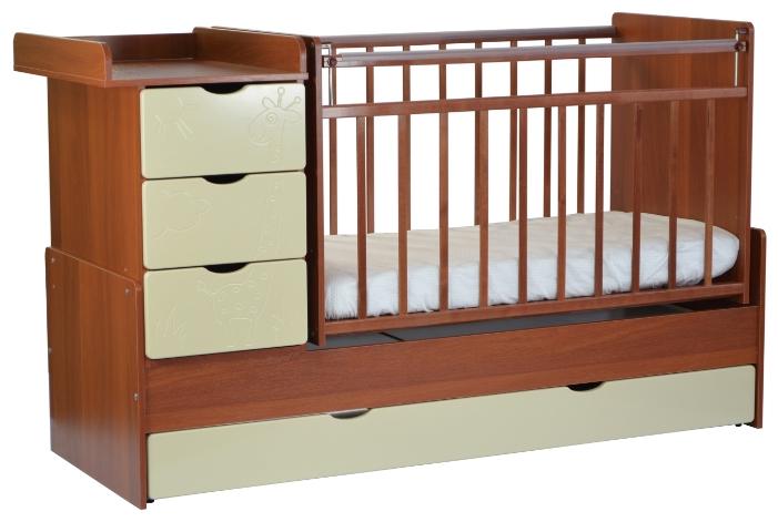 Детская кроватка SKV-company СКВ-5 Жираф, орех-ясень-крем