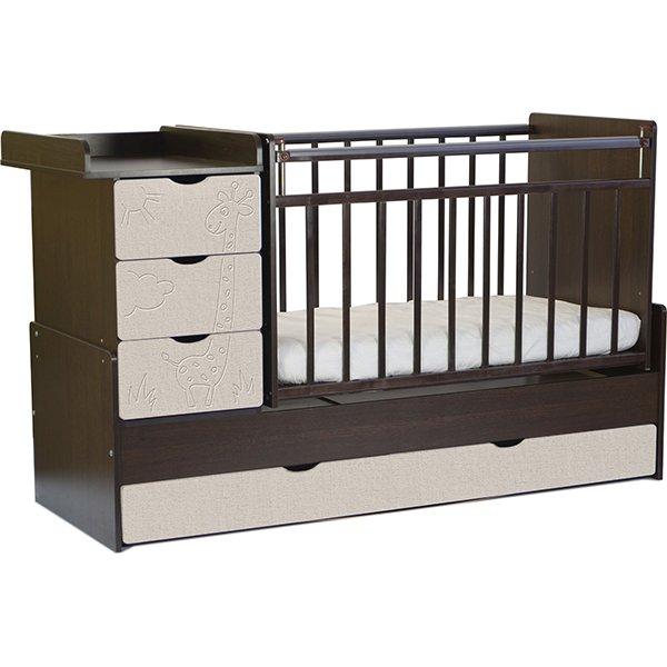 Детская кроватка SKV-company СКВ-5 Жираф, венге-серый текстиль