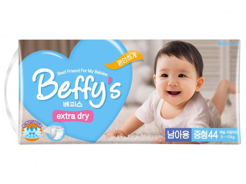 Подгузник Beffy's extra dry д/мальчиков М 5-10кг/44шт 9009