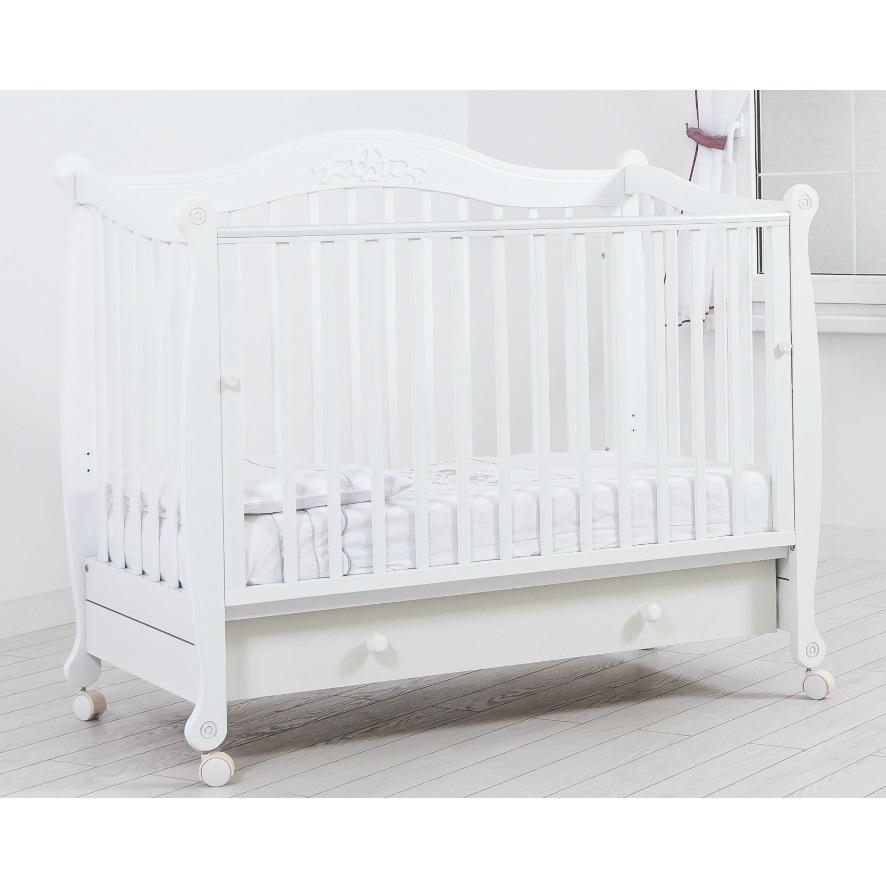 Детская кроватка Gandilyan Моника (колесо), белая