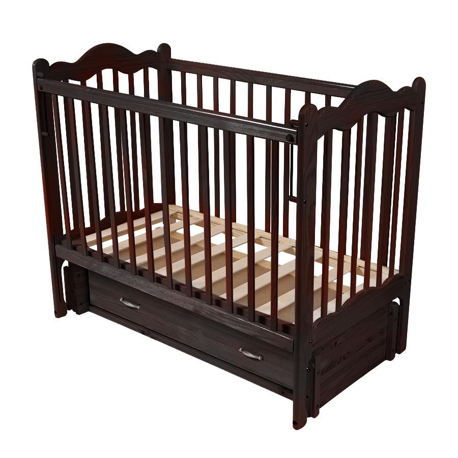 Детская кроватка Schastliviy-Malish Дюймовочка (с ящиком и маятником) Венге