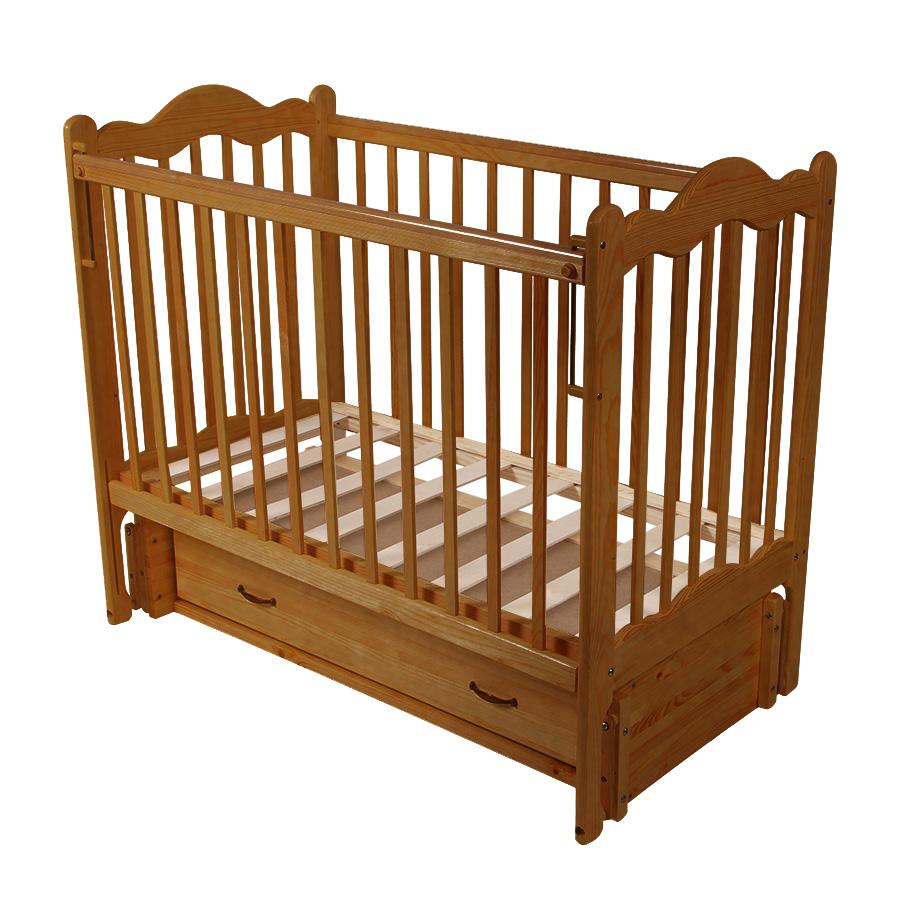 Детская кроватка Schastliviy-Malish Дюймовочка (с маятником и ящиком) Светлый орех