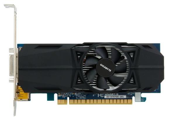 Видеокарта GeForce GigaByte GeForce GTX 750Ti, 2Гб GDDR5, DVI-I / 2xHDMI / DP, низкопрофильная, (GV-N75TOC-2GL)