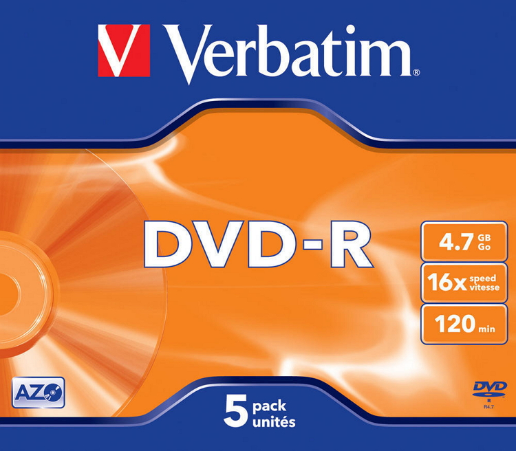 Оптический диск DVD-R Verbatim 4.7 Gb, 16x, Jewel Case (5шт) 43519