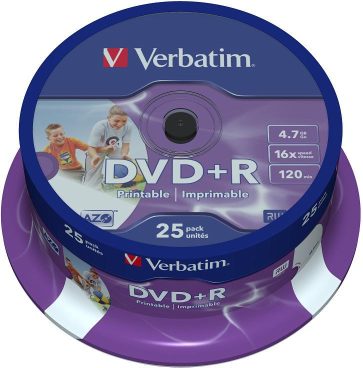 Оптический диск Verbatim DVD-R 4.7 Gb, 16x, Printable, Cake Box (25шт) 43539