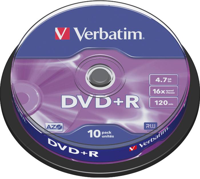 Оптический диск Verbatim DVD-R 4.7 Gb, 16x, Cake Box (10шт) 43498