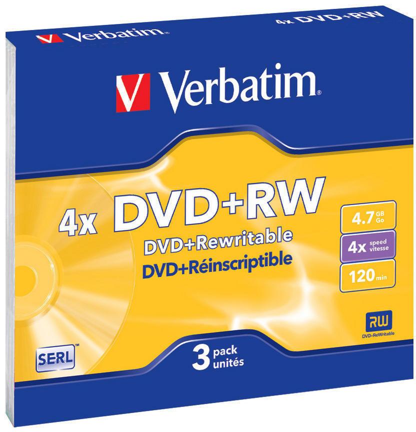 Оптический диск Verbatim DVD+RW 4.7 Gb, 4x, Slim (3шт) 43636