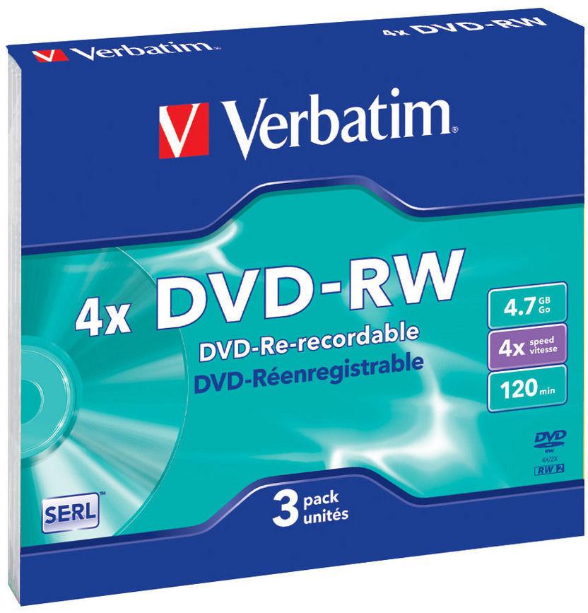 Оптический диск Verbatim DVD-RW 4.7 Gb, 4x, Slim (3шт) 43635