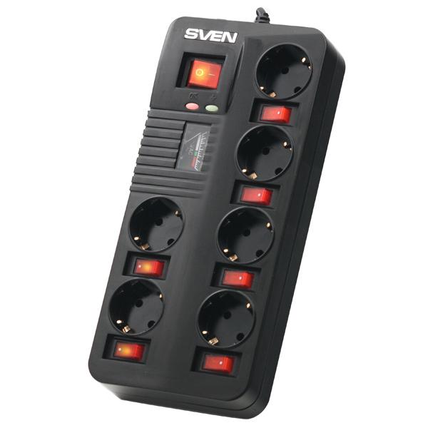Сетевой фильтр Sven Fort Pro (6 розеток) черный 90084