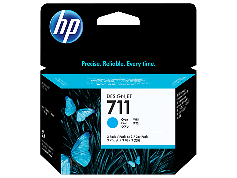Картридж HP 711 набор из 3 шт (голубой) CZ134A
