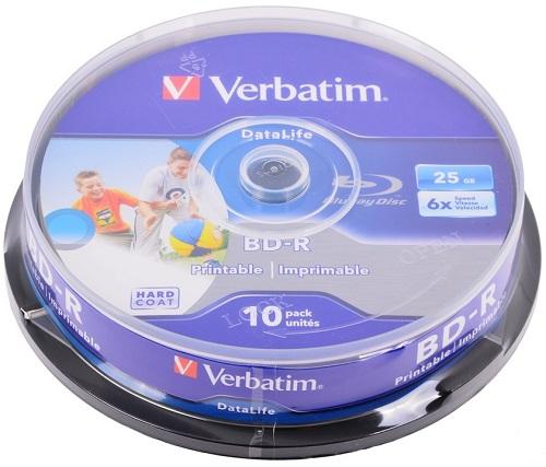 Оптический диск Verbatim BD-R 25 Gb, Cake Box (10 шт) 43804