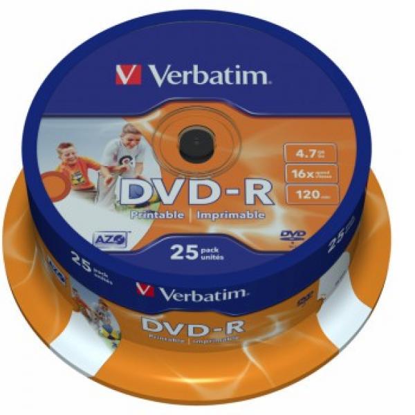 Оптический диск Verbatim DVD-R 4,7 Gb, Cake Box (25 шт) 43538