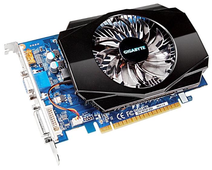 ���������� GeForce GigaByte GeForce GT 730 700Mhz PCI-E 2.0 2048Mb 1600Mhz 128 bit DVI HDMI HDCP GV-N730-2GI