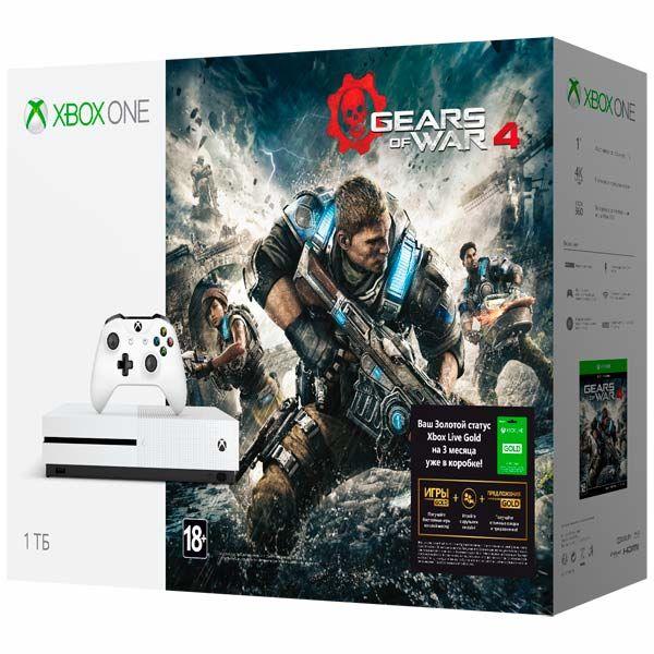 MICROSOFT Xbox One S с 1 ТБ памяти, Gears of War 4, подписка Live на 3 мес.