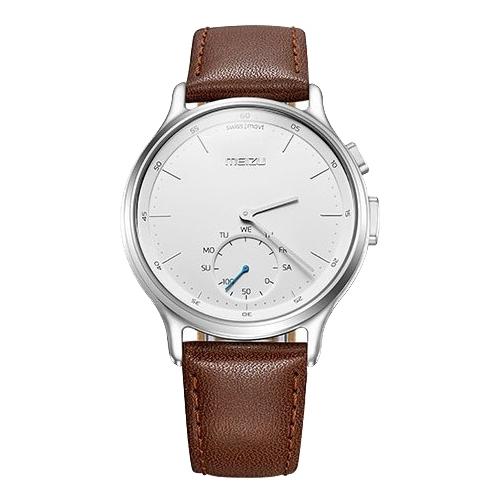 Умные часы Meizu Mix Leather MZWA1S, серебристо-коричневые MBWA1S_LEATHER_SILVER