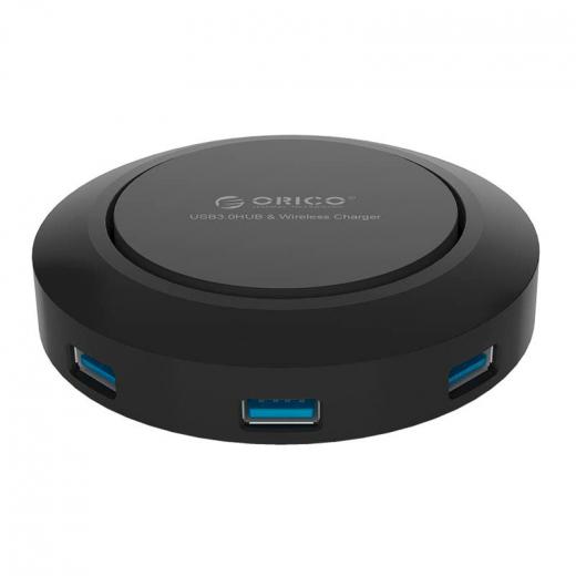 Зарядное устройство Orico HCP-5US-BK (4xUSB 2.4A, USB-Hub, Qi), черное