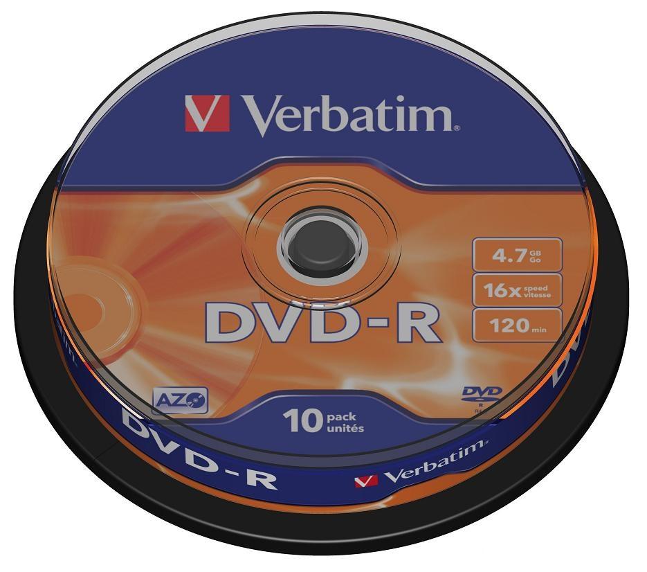 Оптический диск Verbatim DVD-R 4,7 Gb, Cake Box (10 шт) 43523