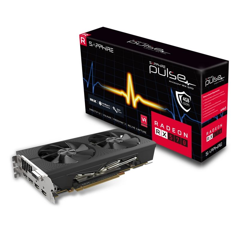 Видеокарта Radeon Sapphire Pulse Radeon RX 570 1228Mhz PCI-E 4096Mb 7000Mhz 256 bit DVI 2xHDMI HDCP, 11266-04-20G