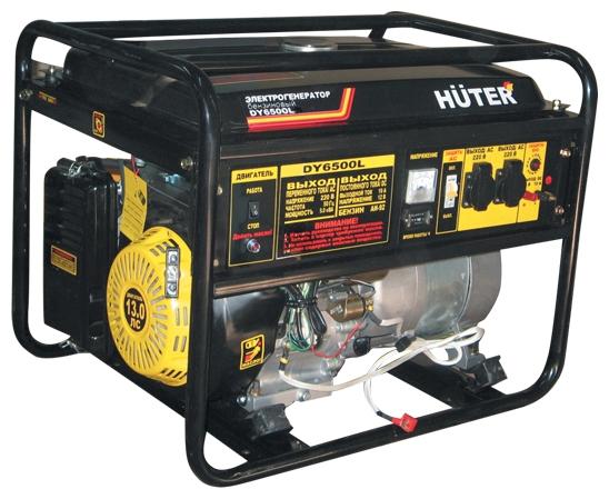Электрогенератор Бензиновый генератор HUTER DY6500L, 220, 5кВт 64/1/6