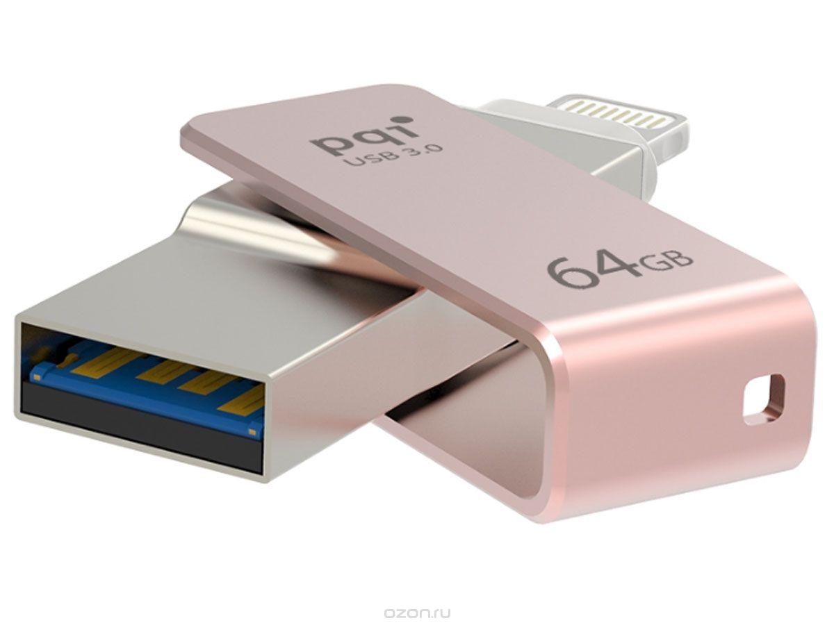 Usb-флешка PQI iConnect mini 64GB розовое золото 6I04-064GR3003