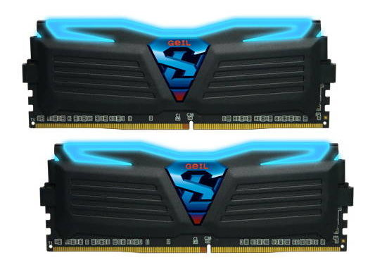 Модуль памяти Geil Super Luce GLB432GB3000C15ADC (DDR4, 2x16Gb, 3000MHz, 15-17-17-35, DIMM), чёрные с синей подсветкой