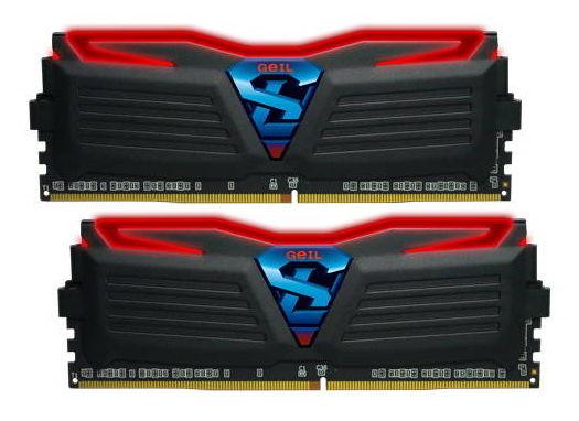 Модуль памяти Geil Super Luce GLR432GB3000C15ADC (DDR4, 2x16Gb, 3000MHz, 15-17-17-35, DIMM), чёрные с красной подсветкой