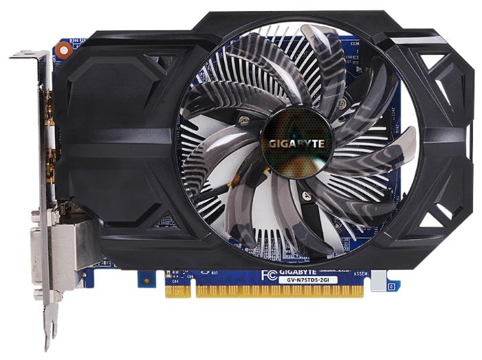 Видеокарта GeForce GigaByte GeForce GTX 750 Ti 1020Mhz PCI-E 3.0 2048Mb 5400Mhz 128 bit 2xDVI 2xHDMI HDCP (GV-N75TD5-2GI)