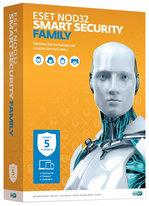 Антивирус ESET NOD32 Smart Security Family (на 5 устройств, Retail) NOD32-ESM-NS(BOX)-1-5