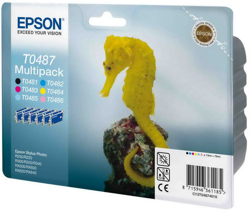 �������� Epson T0487 ��� R200/300/RX500/600 (B, C, M, Y, LC, LM) 6-pack C13T04874010